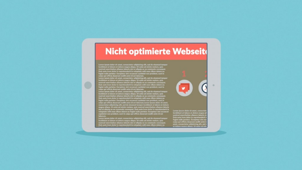 Webseite, nicht optimiert